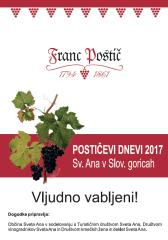 POSTIČEVI DNEVI, 17. september 2017, 26.oktober 2017 in 11. november 2017, Občina Sv. Ana